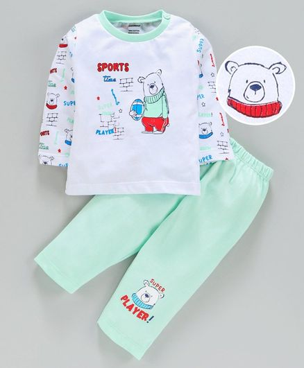 Cucumber Full Sleeves Tee With Bottom Bear Print - Green