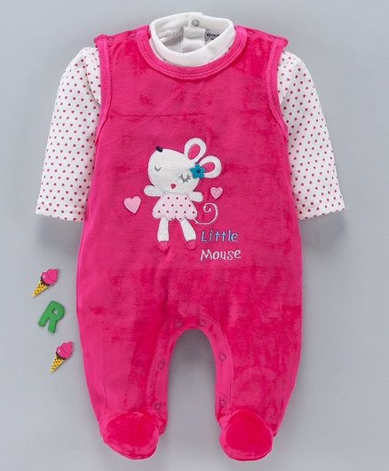 Wonderchild Heart Printed Full Sleeves Tee With Patch Detailed Romper - Pink