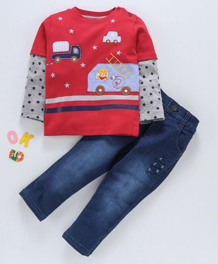 Wonderchild Car Patch Full Sleeves Tee With Bottom - Red & Blue