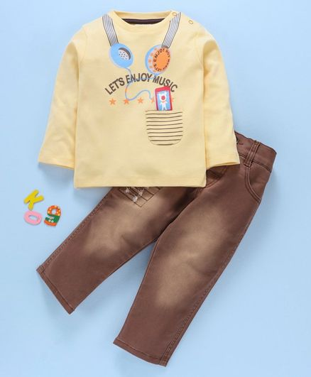 Wonderchild Let's Enjoy Music Print Full Sleeves Tee With Jeans - Cream & Brown