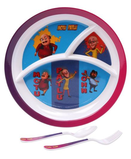 Motu Patlu Print Kids Feeding Set of 3 - Blue