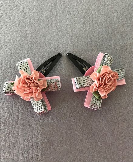 Kalacaree Bow & Flower Theme 1 Pair Of Hair Clips - Pink & Silver