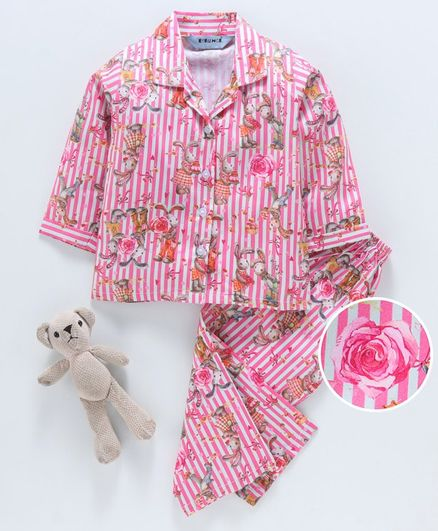 Enfance Core Full Sleeves Striped Bunny Print Night Suit - Pink