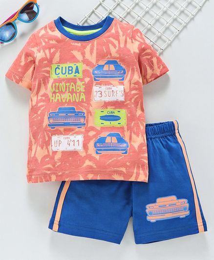 Babyhug Half Sleeves Tee & Shorts Car Print - Peach Blue