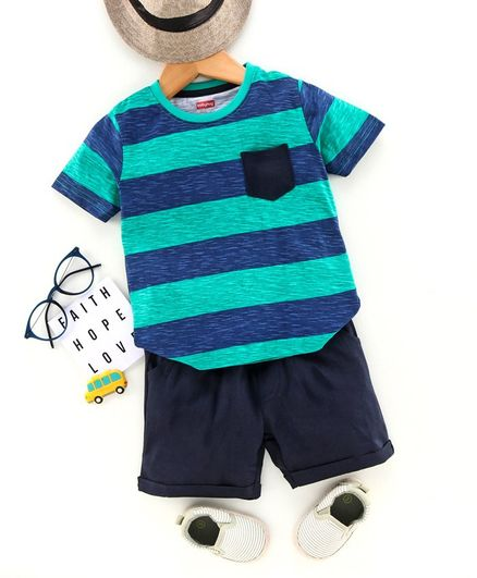 Babyhug Half Sleeves Striped Tee & Shorts Set - Green Blue