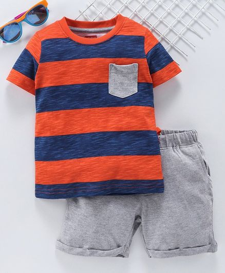 Babyhug Half Sleeves Striped Tee & Shorts Set - Orange Blue