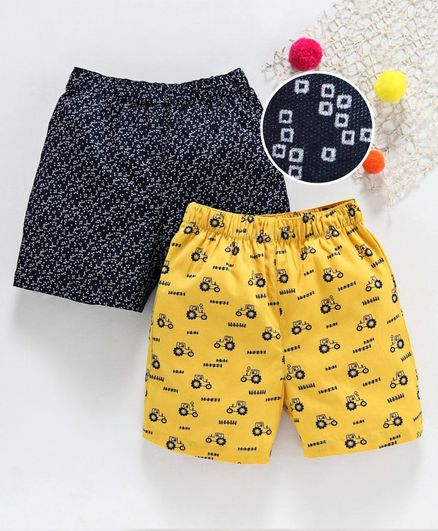 Babyhug 100% Cotton Woven Printed Boxer Set of 2  - Yellow Black