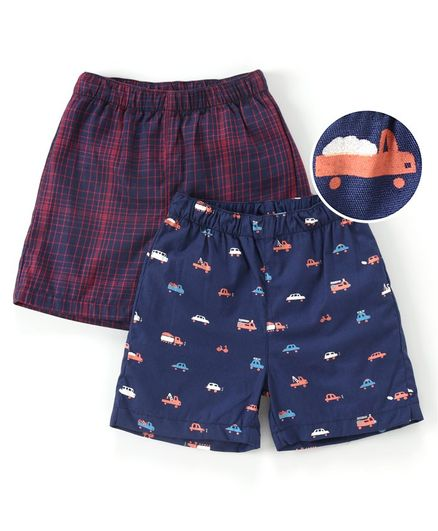 Babyhug 100% Cotton Woven Boxer Set of 2 Printed & Checked - Navy Blue Red