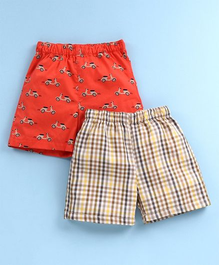 Babyhug 100% Cotton Woven Boxer Set of 2 Printed & Checked - Orange