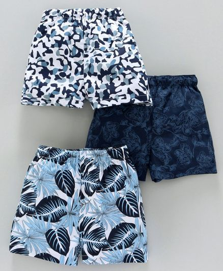 Babyhug 100% Cotton Woven Boxers Allover Print Pack Of 3 - Blue White
