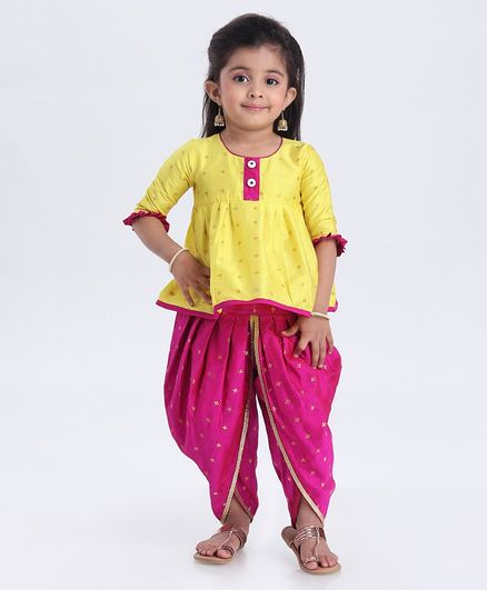 Saka Designs 3/4th Sleeves Kurta & Dhoti Set Self Design - Yellow Pink