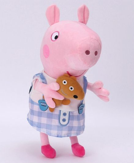Peppa Pig Soft Toy In Plaid Skirt Costume Blue - Height 30 cm