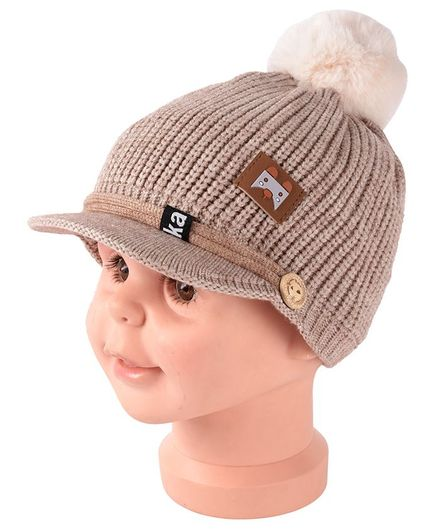 Yellow Bee Pom Pom Cap With Visor - Brown