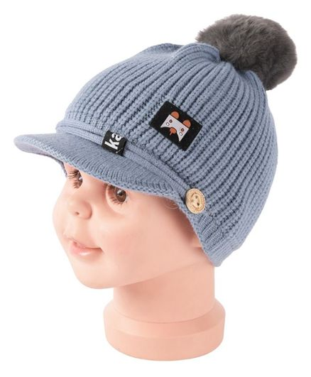 Yellow Bee Pom Pom Cap With Visor - Grey
