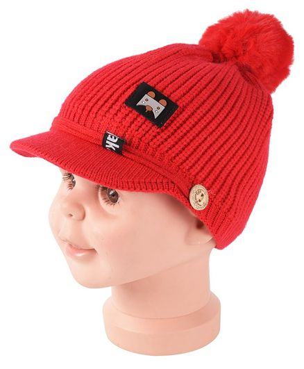 Yellow Bee Pom Pom Cap With Visor - Red