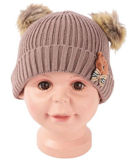 Yellow Bee Pom Pom Hat With Bear And Bow Applique - Brown