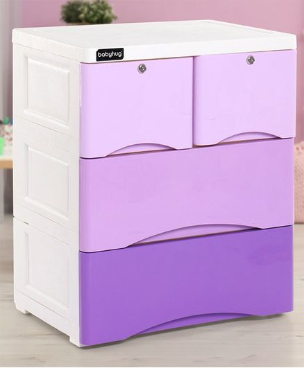 Babyhug 4 Compartment Storage Chest of Drawers - White Purple