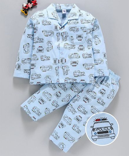 Teddy Full Sleeves Night Suit Vehicle Print - Blue