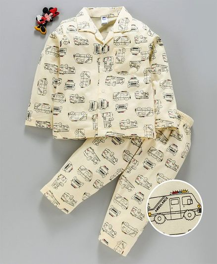 Teddy Full Sleeves Night Suit Vehicle Print - Yellow