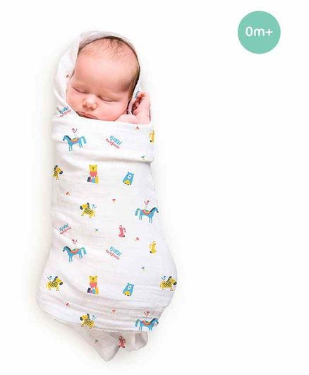 Rabitat Pamper Soft Bamboo  Swaddle Born Awesome Print - Multicolor