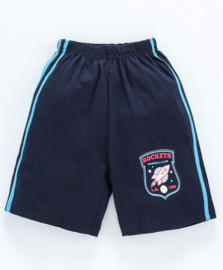 Taeko Shorts Baseball Club Logo Print - Navy Blue