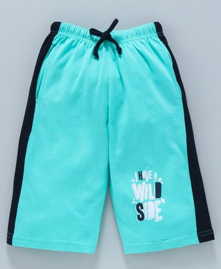 Taeko Jamaican Three Fourth Length Pants With Drawstring Text Print - Aqua Blue