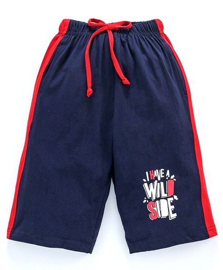 Taeko Jamaican Three Fourth Length Pants With Drawstring Text Print - Navy Blue
