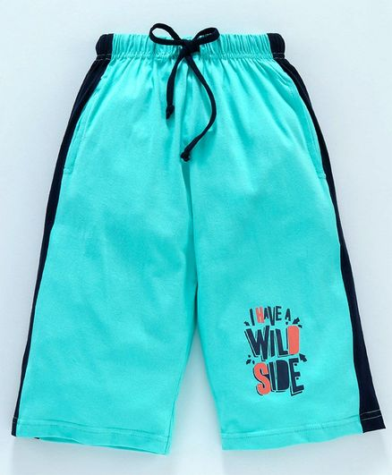 Taeko Jamaican Three Fourth Length Pants With Drawstring Text Print - Blue
