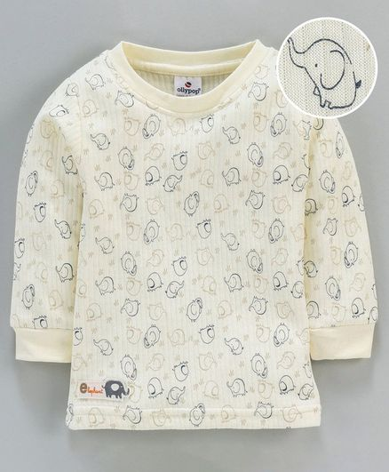 Ollypop Full Sleeves Thermal Vest Elephant Print - Cream