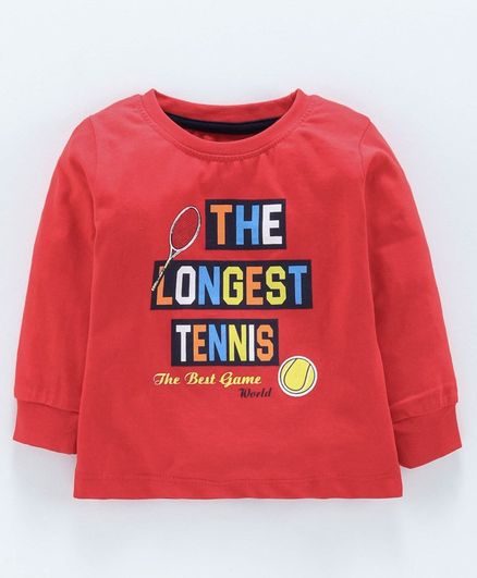 Cucumber Full Sleeves T-Shirt Tennis Print - Red
