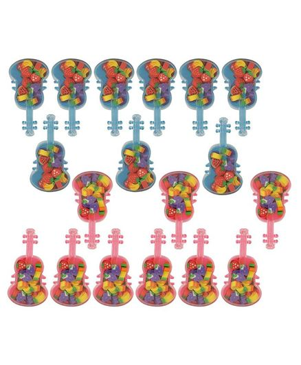 Passion Petals Fruits Mini Erasers In Guitar Set of 18 - Pink Blue