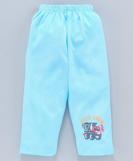 Tango Full Length Track Pant Construction Vehicle Print - Sea Green