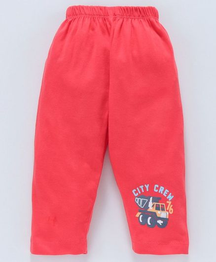 Tango Full Length Track Pant Construction Vehicle Print - Red