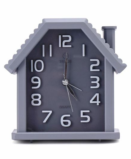 Quartz Alarm Clock House Shape - Gery
