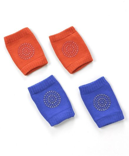 Baby Cotton Knee Pads Pack of 2 Pairs - Red & Blue