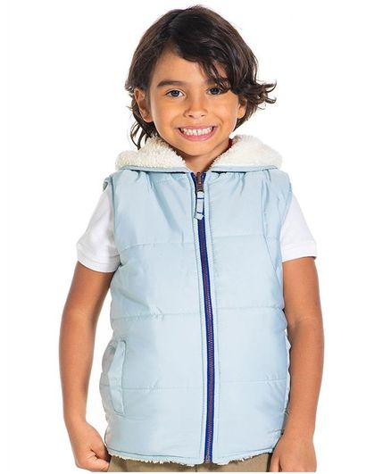 Cherry Crumble by Nitt Hyman Solid Sleeveless Hooded Reversible Jacket - Blue & Off White