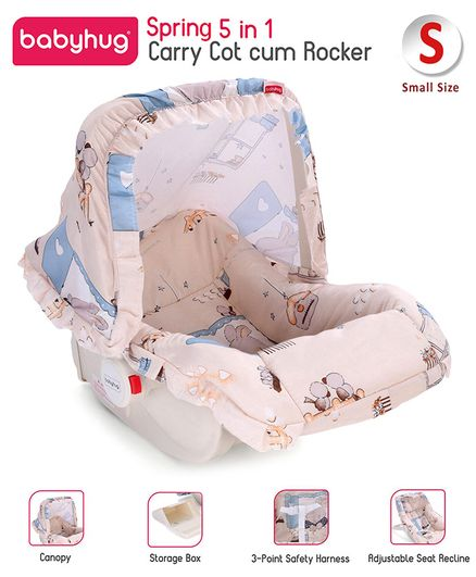 Babyhug Spring 5 in 1 Carry Cot Cum Rocker With Mosquito Net - Cream
