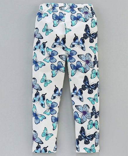 Doreme Full Length Legging Butterfly Print - White