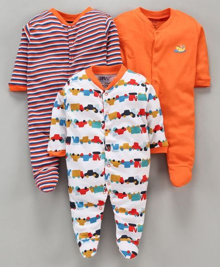 BUMZEE Pack Of 3 Car Print Full Sleeves Sleep Suit - Orange