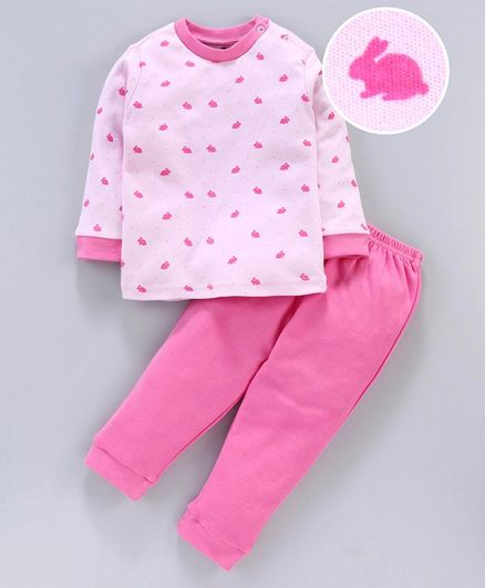Zero Full Sleeves Tee & Lounge Pant Rabbit Print - Pink