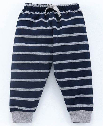 Cucumber Full Length Striped Lounge Pant - Navy Blue Grey