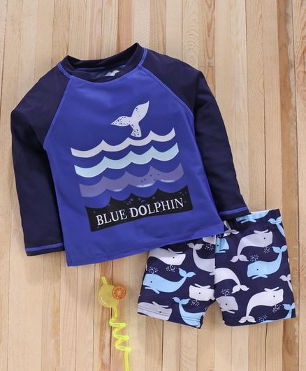 Babyhug Full Sleeves Two Piece Swimsuit Dolphin Print - Blue