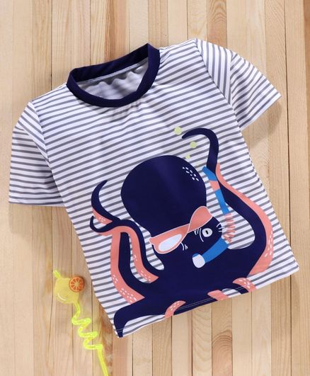 Babyhug Half Sleeves Sun Top Octopus Print - Blue