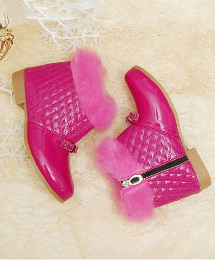 D'chica Bow Decorated Fur Side Zip Boots - Pink