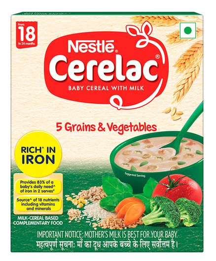 Nestle CERELAC Baby Cereal with Milk 5 Grains & Vegetables from 18 to 24 Month Bag In Box Pack - 300 gm