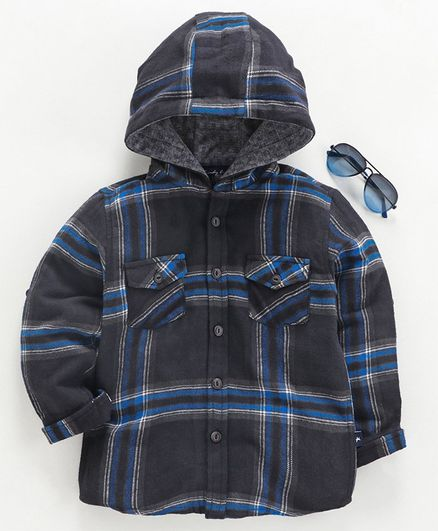 Trendy Cart Full Sleeves Checked Hooded Shirt - Grey