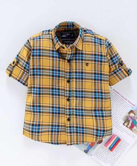 Jash Kids Full Sleeves Checked Shirt - Yellow