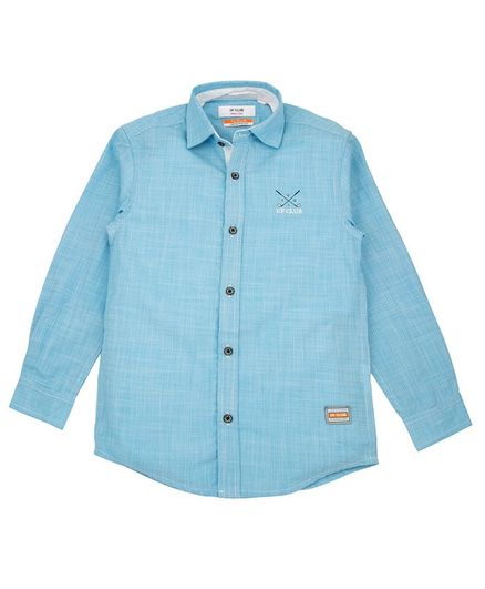 UF Club Solid Front Button Full Sleeves Shirt - Blue