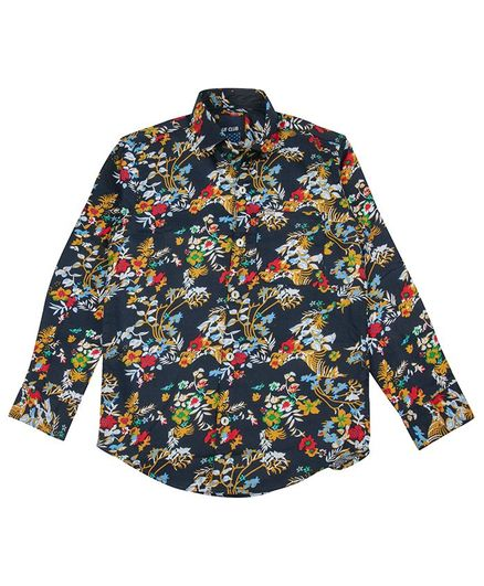 UF Club Floral Printed Full Sleeves Shirt - Navy Blue