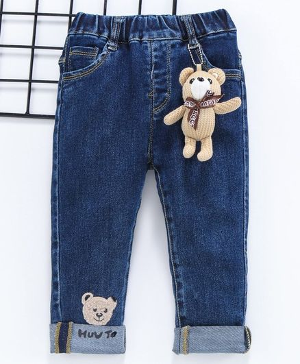 Kookie Kids Full Length Jeans Teddy Patch - Blue